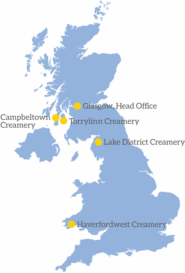 A map displaying all of the First Milk Creameries around the UK